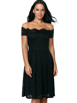 Ericdress Vogue Slash Neck Backless Lace Dress