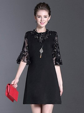 Ericdress Ruffle Sleeve Stand Collar See-Through A Line Dress