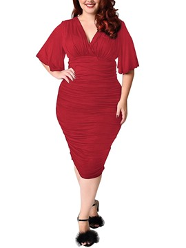 Ericdress Sexy V-Neck Pleated-Detail Plus Size Bodycon Dress