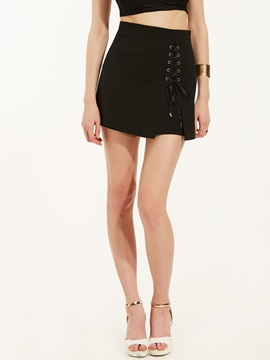 Mid-Waist Lace-Up Plain Mini Skirt