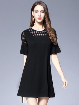 Ericdress Patchwork Falbala-Trim Pocket Little Black Dress