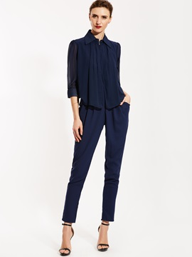 Ericdress Lapel Dark Blue Long Sleeve Women's Jumpsuits