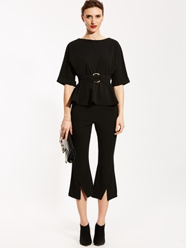 Ericdress Plain T-shirt And Bellbottoms Suit