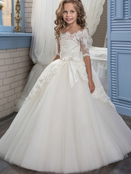 aed57598c5 Ericdress Off The Shoulder Half Sleeves Ball Gown Flower Girl Dress
