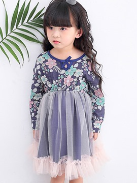Ericdress Two Color Floral Patchwork Girls Tutu Dress