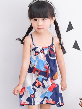 Ericdress Spaghetti Strap Printed Cotton Girls Dress