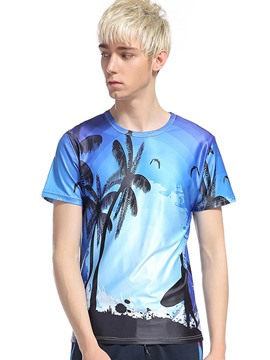 Ericdress Tree Pattern 3D Print Casual Men's T-Shirt