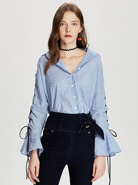 Ericdress Tie Sleeve Striped Blouse