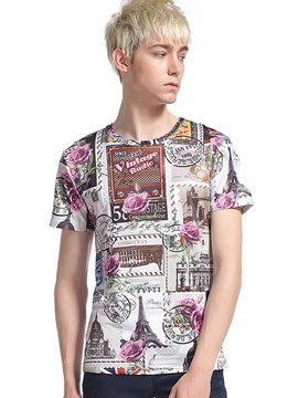 Ericdress Street Style Short Sleeve Print Men's T-Shirt