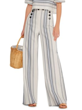 Ericdress Stripe Button Women's Pants