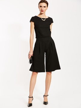 Ericdress Plain T-shirt And Knee Length Wide Legs Pants Suit