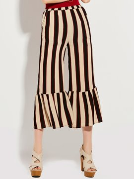 Stripe Falbala Patchwork Ankle Length Bellbottoms