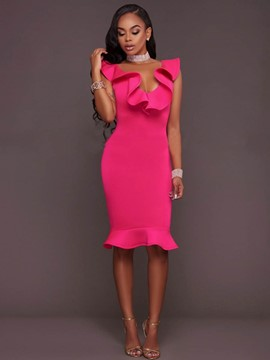 Ericdress Low-Cut Ruffled Collar Mermaid Bodycon Dress