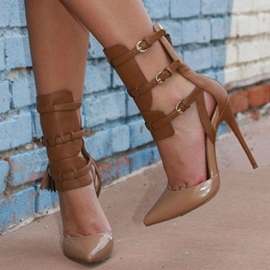 Ericdress Brown Tassel Cage Ankle Booties