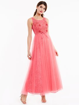 Ericdress Scoop Neck Appliques Sequins Lace Evening Dress