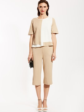Ericdress Color Block T-shirt And Mid-Calf Straight Pants Suit