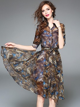 Ericdress Print 3/4 Length Sleeves Lace-Up A Line Dress