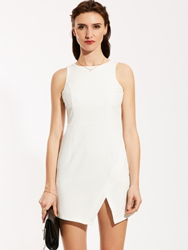 Round Neck Sleeveless Bodycon Dress