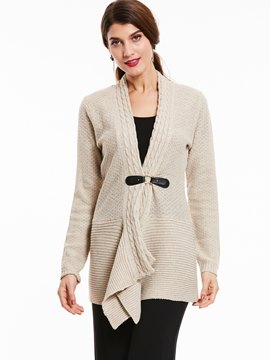 Ericdersss Cable Collar Buckle Cardigan Knitwear