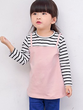 Ericdress Double-Layer Stripe Long Sleeve Spring Girls T-Shirt