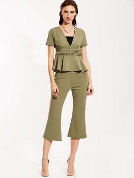 Ericdress Square Neck Blouse And Bellbottoms Suit