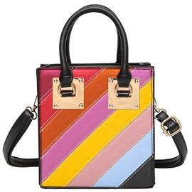 Ericdress Rainbow Color Block Handbag