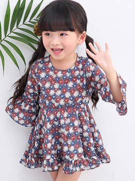 Ericdress Spring Floral Flare Sleeve Girls Dress