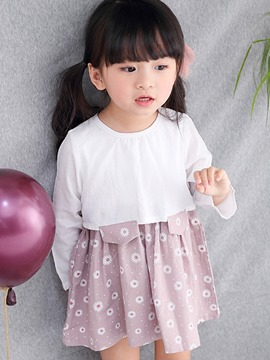 Ericdress Two Color Double-Layer Floral Girls Dress