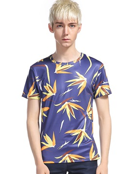 Ericdress Maple Leaf 3D Print Short Sleeve Men's T-Shirt