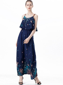 Ericdress U-Neck Floral Print Expansion Maxi Dress