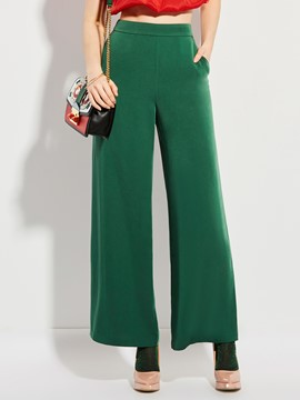 High Waisted Wide Leg Green Women's Pants