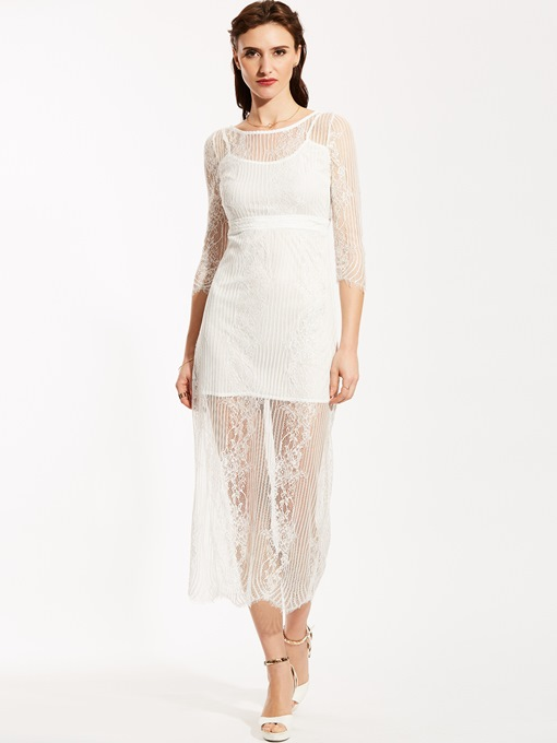 Ericdress Round Neck See-Through Backless Lace Dress