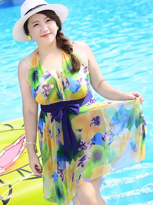 Ericdress Lace-Up Print Bownot One Piece Swimwear (Plus Size Available)