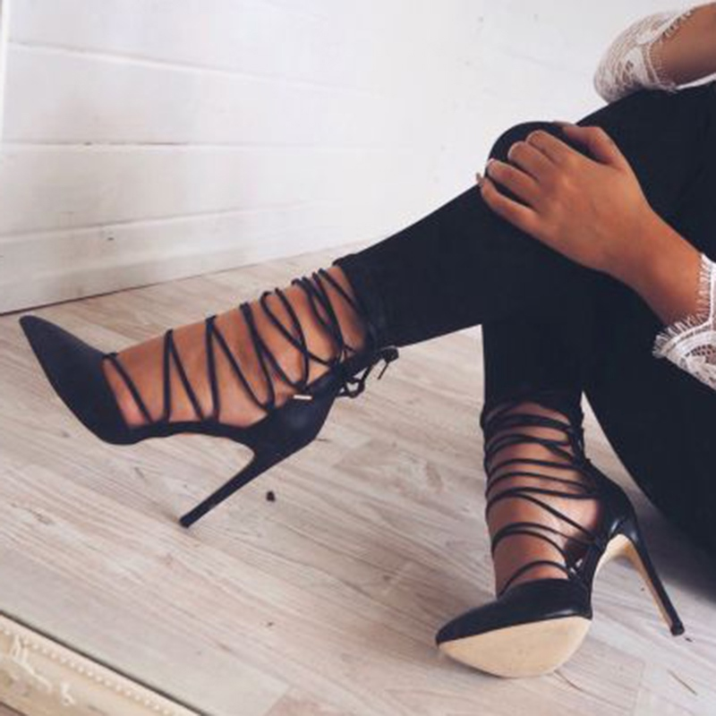 9e214267a6 Ericdress Black Lace Up Stiletto Heels ...