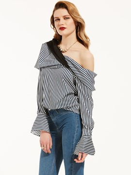 Ericdress Oblique Shoulder Vertical Striped Blouse