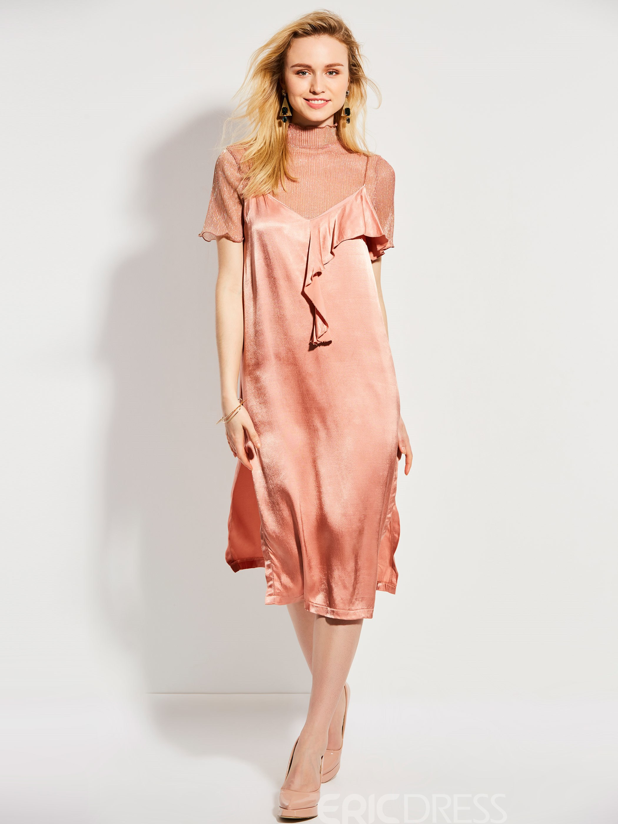 Ericdress Falbala Patchwork Spaghetti Strap Casual Dress
