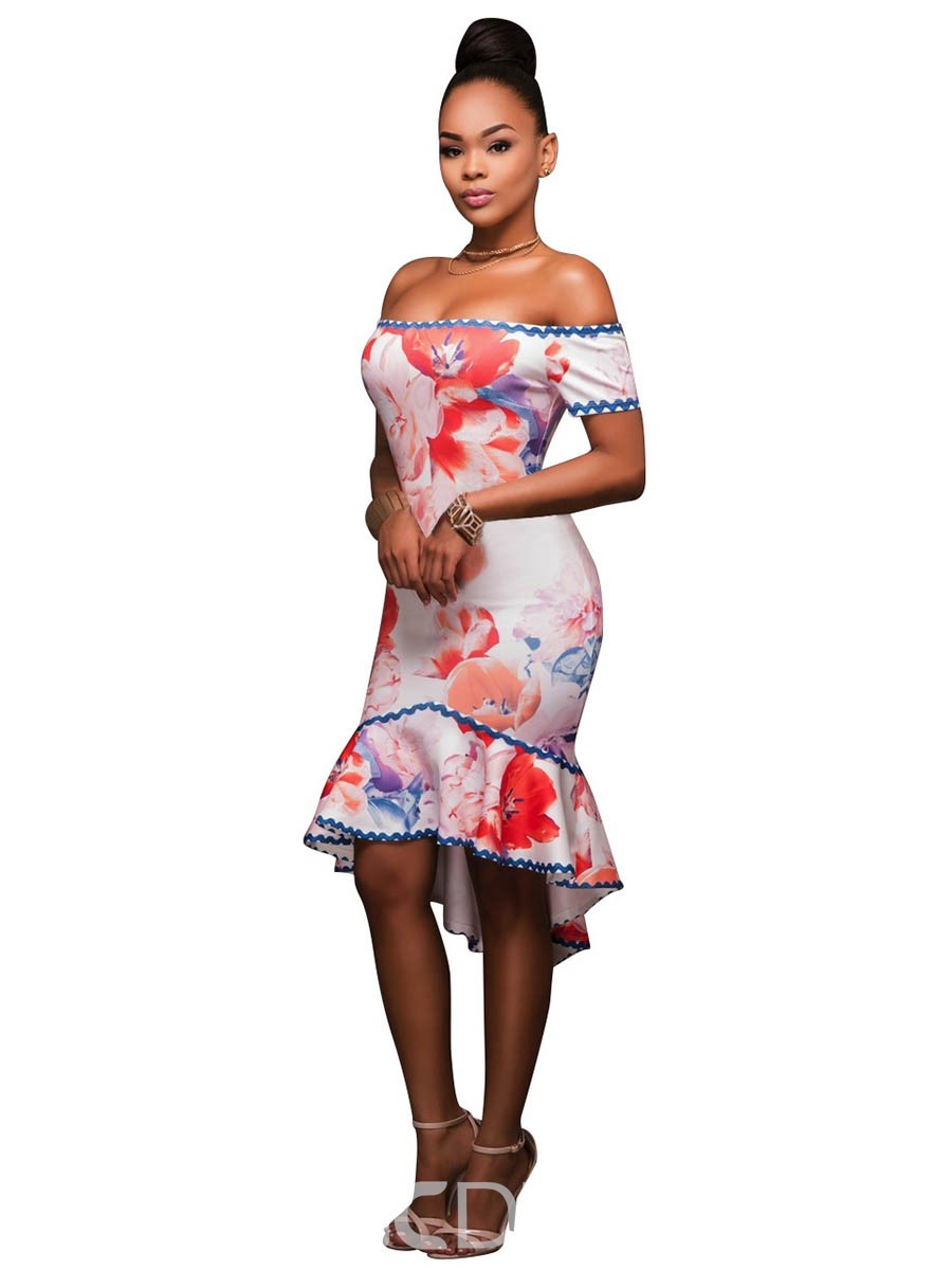 Ericdress Floral Print Slash Neck Mermaid Bodycon Dress