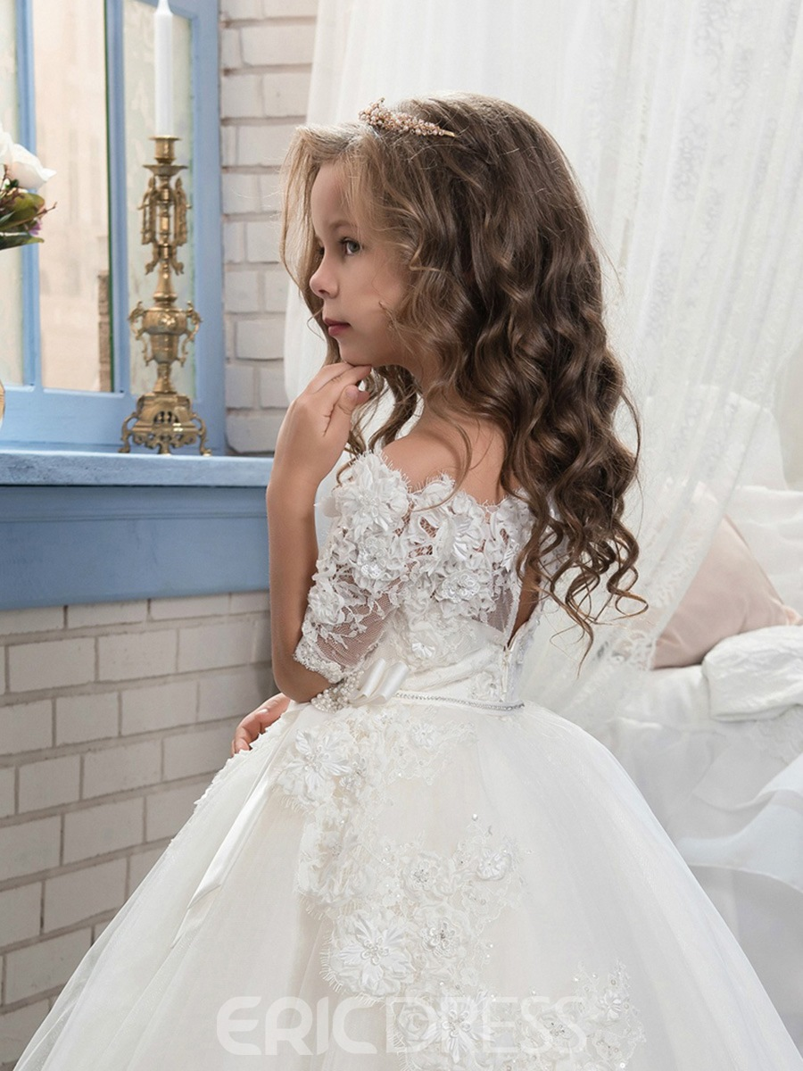 Ericdress Off The Shoulder Half Sleeves Ball Gown Flower Girl Dress