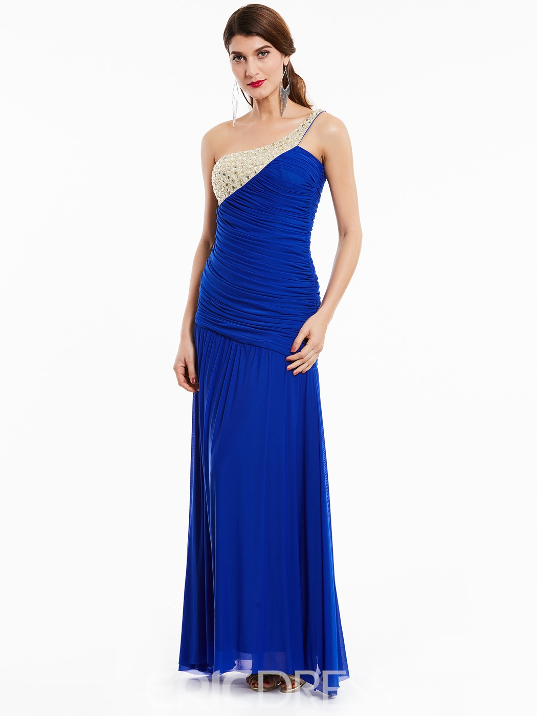 Ericdress Pleats Ruched Beading Chiffon One-Shoulder Evening Dress
