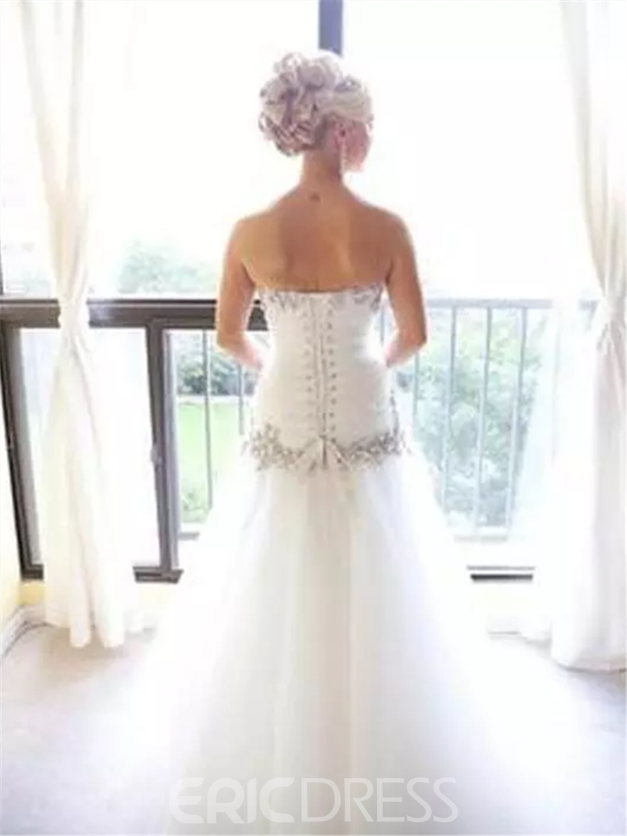 Ericdress A-Line Strapless Sweetheart Beading Wedding Dress