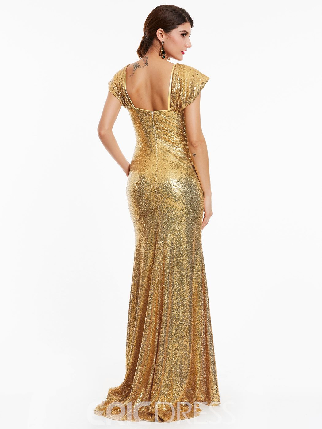 Ericdress Straps Zipper-Up Sequins Sheath Evening Dress