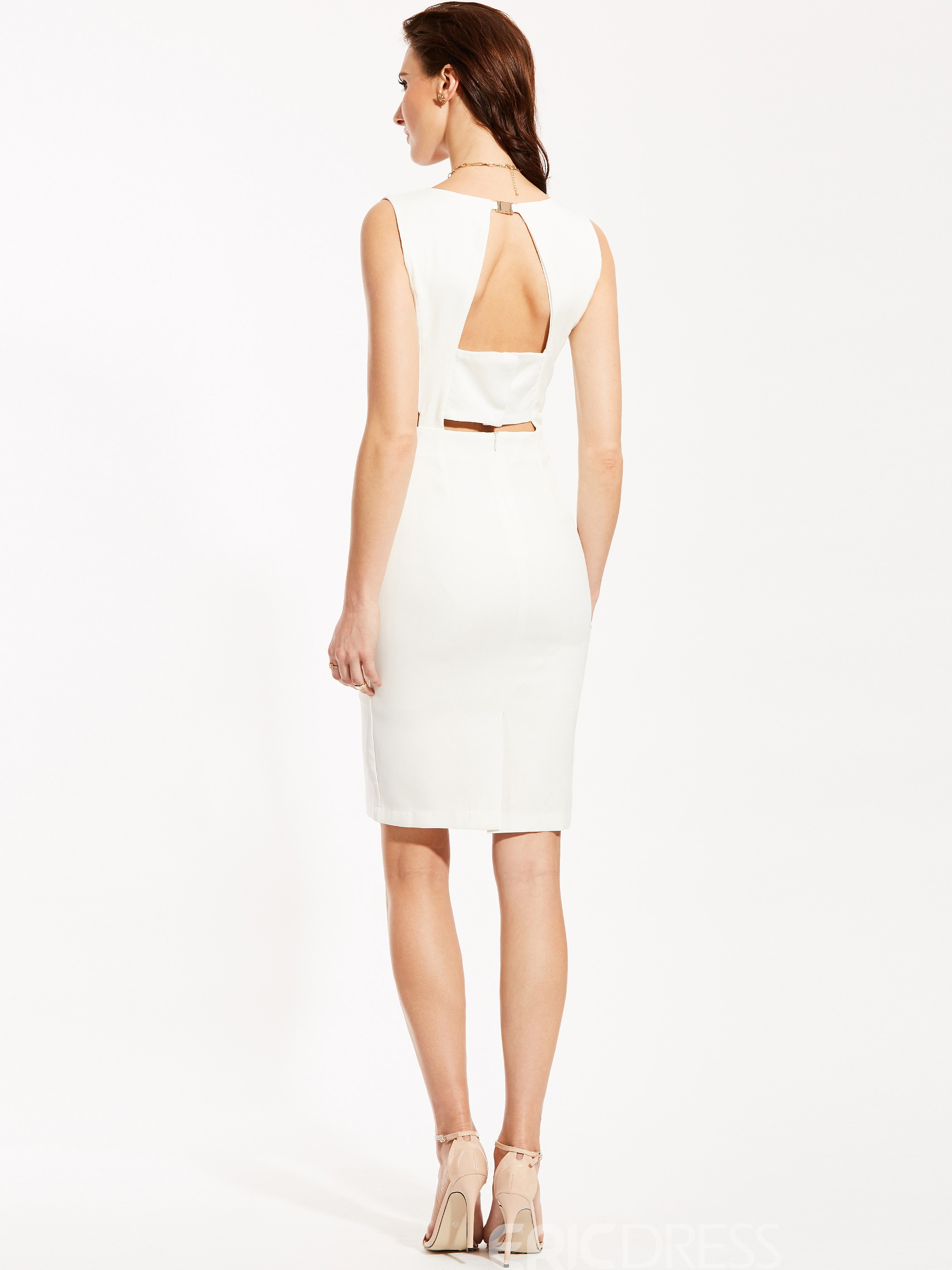 Ericdress V-Neck Backless Plain Bodycon Dress