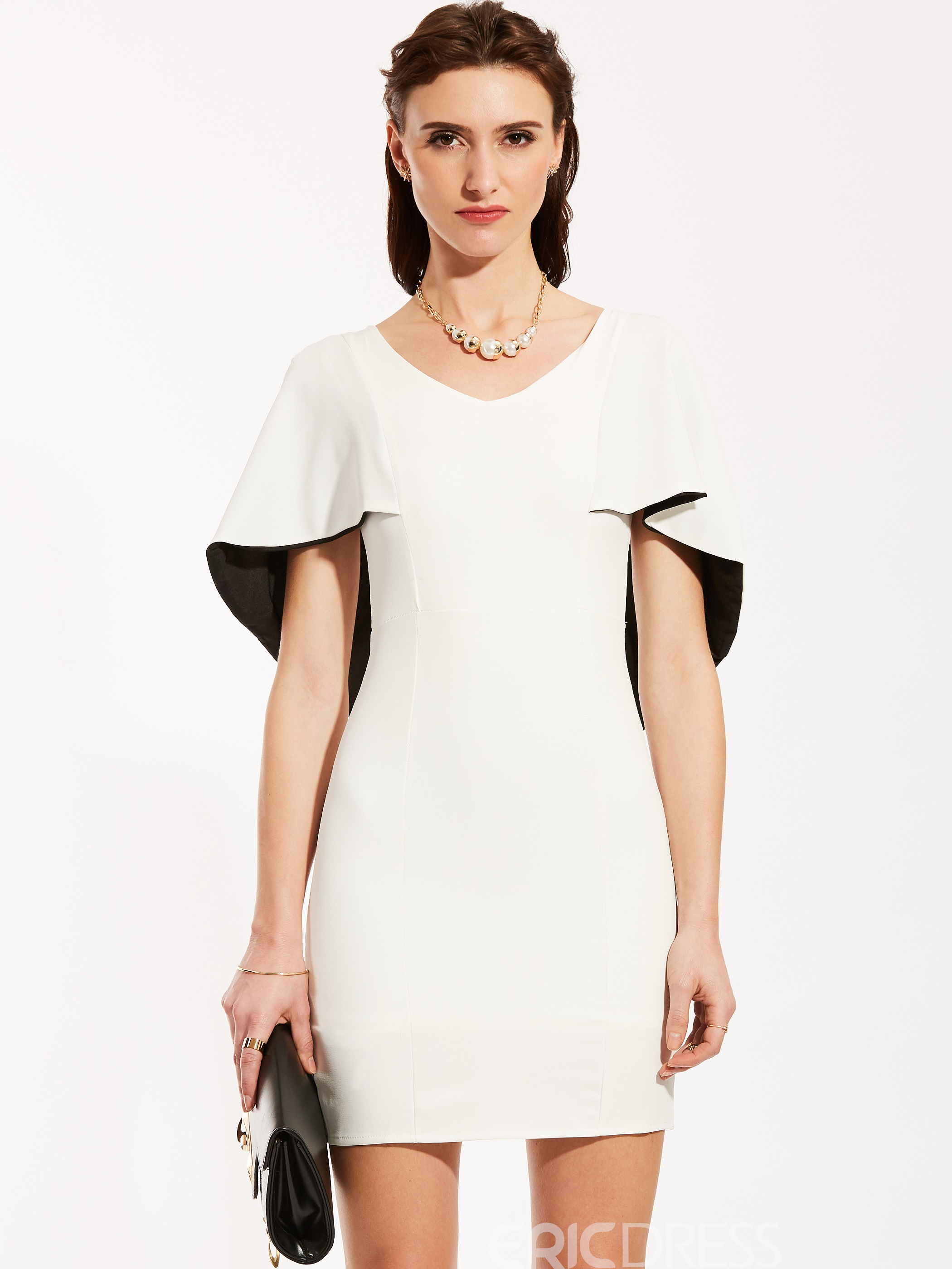 Ericdress V-Neck Batwing Sleeve Bodycon Dress