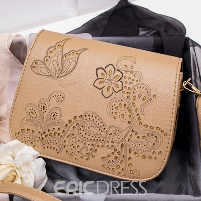 Ericdress Contracted Hollowed Printing Crossbody Bag