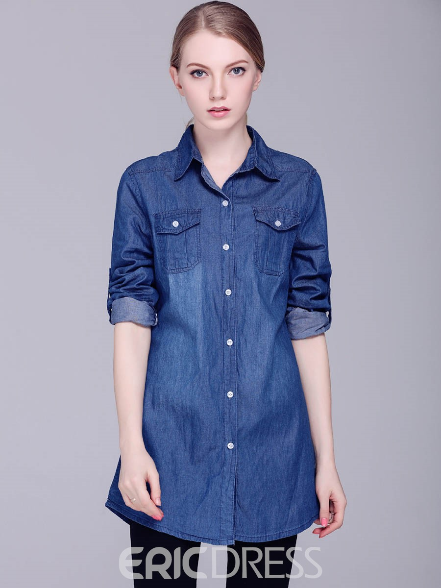 Ericdress Single-Breasted Mid-length Denim Blouse