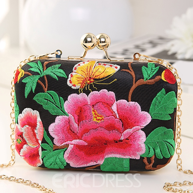 Ericdress Versatile Exotic Peony Embroidery Evening Clutch
