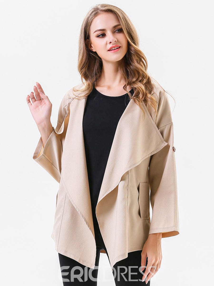 Ericdress Irregular Solid Color Coat