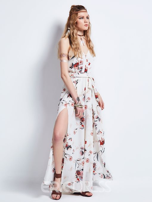 Ericdress Delicate Floral Spaghetti Strap Lace-Up Maxi Dress