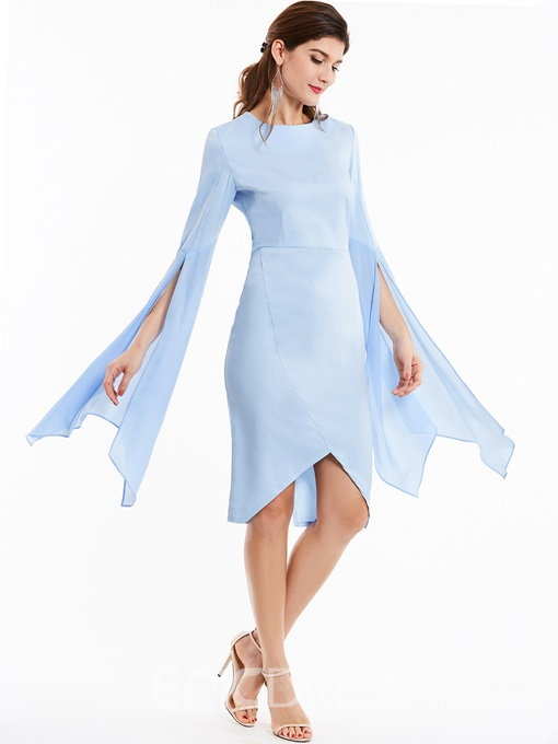 Ericdress Bell Sleeve Asymmetrical Elegant Bodycon Dress