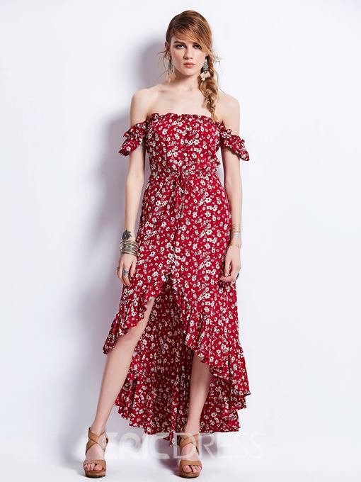 Ericdress Slash Neck Puff Sleeve Print Maxi Dress